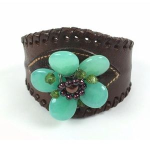 Hand Crafted Leather Cuff Bracelet Floral Bead